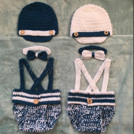 Little mister outfits for newborns. (Hat, bow tie, diaper cover with detachable suspenders)