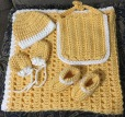 Newborn warmth set! (Blankie, hat, socks, mittens, bib)